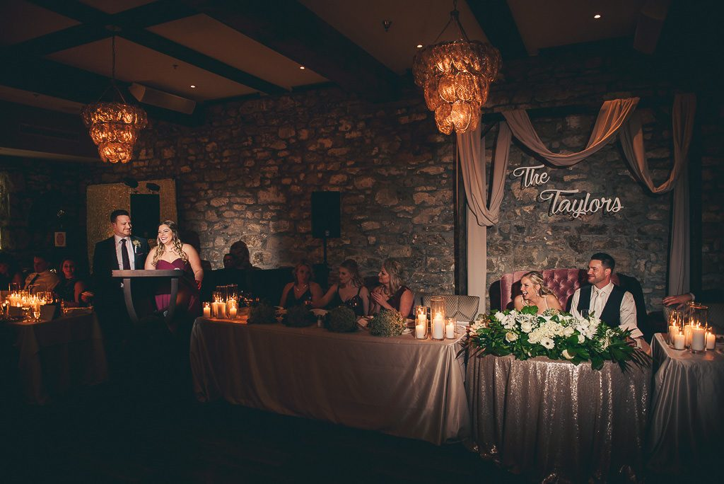 speeches at wedding reception at the Cambridge Mill.