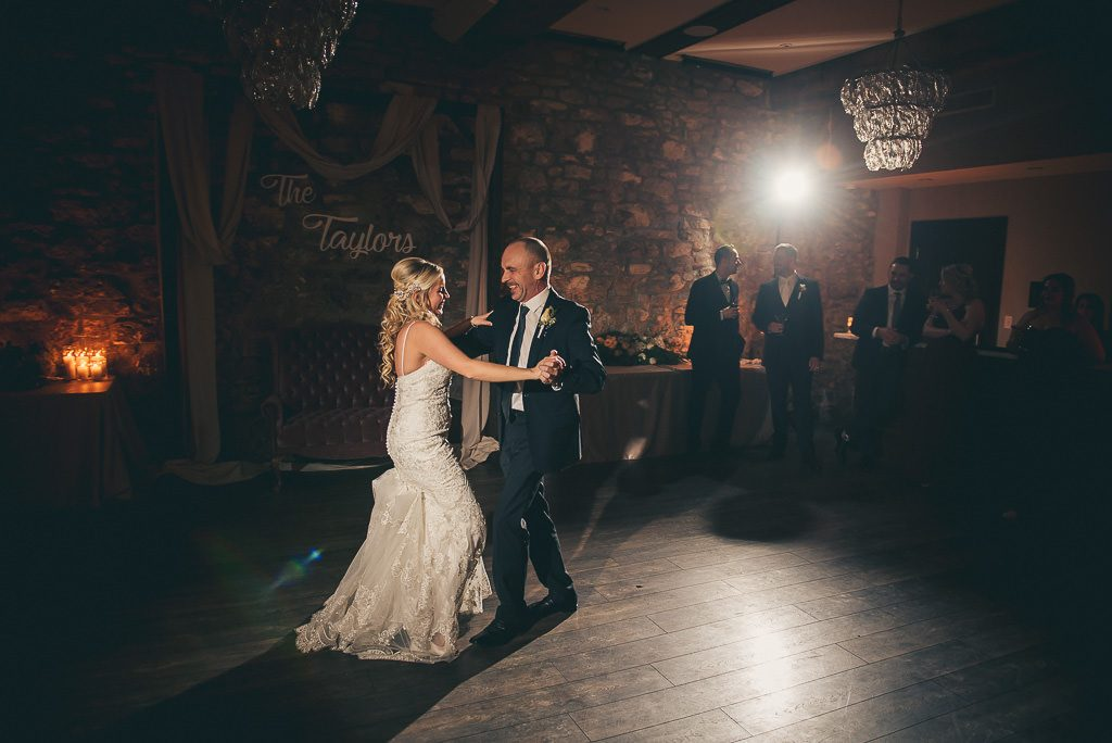 father and daughter dancing at the wedding reception at Cambridge Mill