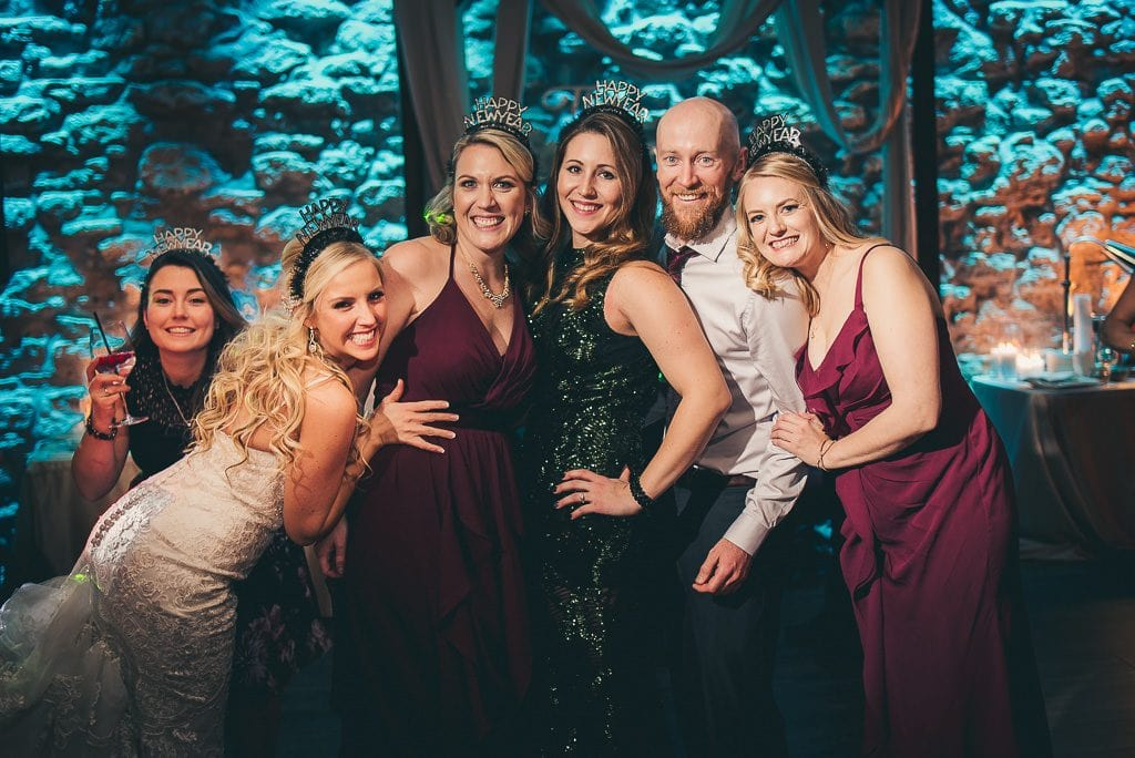 wedding reception party photo at the Cambridge Mill on New Years eve