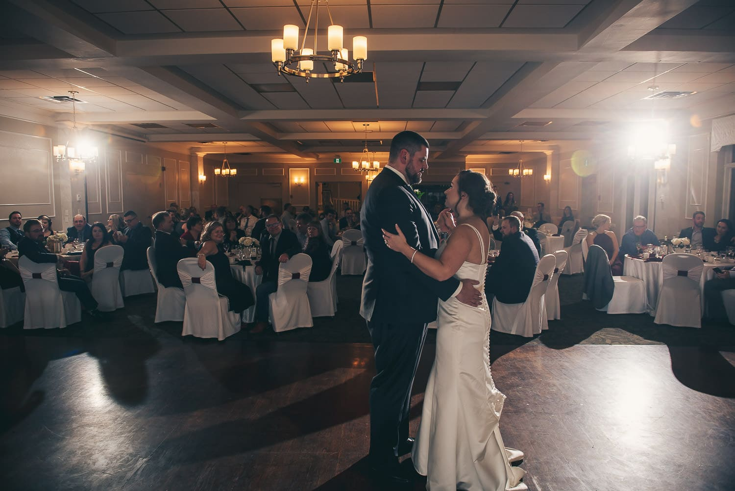 first dance in grand ballroom at the Elmhurst Inn wedding