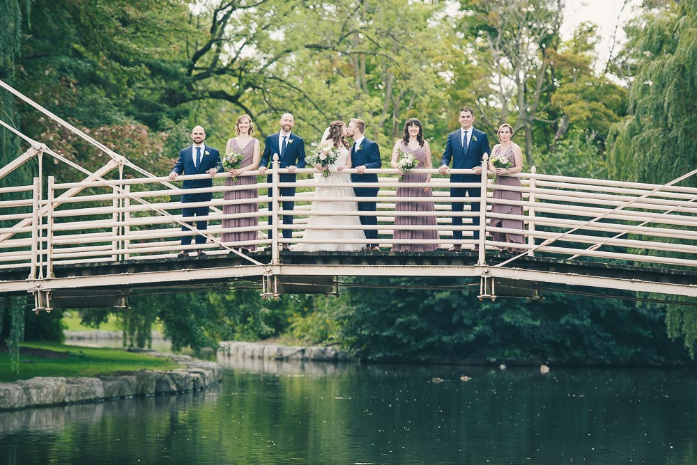 wedding party photo at Victoria Park in kitchener ontario
