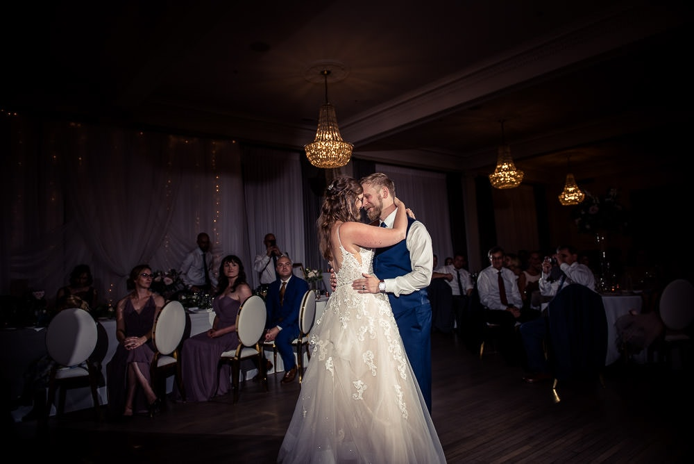 first dance in crystal ballroom at walper hotel wedding